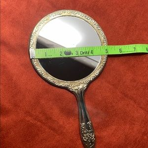Vintage Bath - Vintage Silver Plated Scrolled Round Hand Mirror